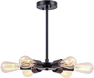 Smellbt Mid-Century Modern Sputnik Chandelier in Black Polished Nickel Finish with 6 Bulb Sockets, Multi-Adjustable Pendant Lighting for Hallway, Bar, Kitchen, Entryway, Dining Room