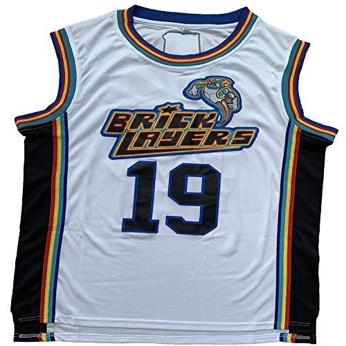 Mens #19 Aaliyah Bricklayers 1996 MTV Rock N Jock Movie Basketball Jersey S-XXXL (White, Small)