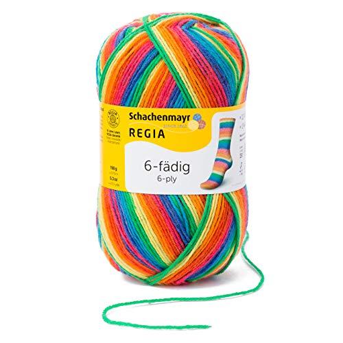 REGIA 6-fädig Color 9801285-06367 rainbow Handstrickgarn, Sockengarn, 150g Knäuel