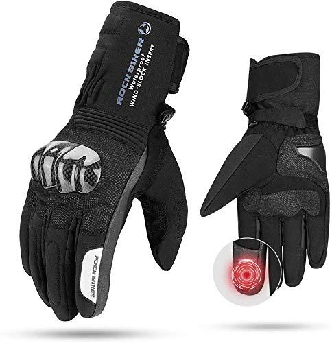Motorradhandschuhe Winter, CE 2KP geprüfte Winterhandschuhe Motorrad Kohlerfaser, Handschuhe Winter Warm Handschuhe Touchscreen Handschuhe Wasserdicht Winddicht Sporthandschuhe (XXL,Schwarz)