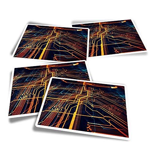 Pegatinas rectangulares de vinilo (juego de 4) – Placa base de circuitos para computadoras portátiles, tabletas, equipaje, reserva de chatarra, neveras #21358