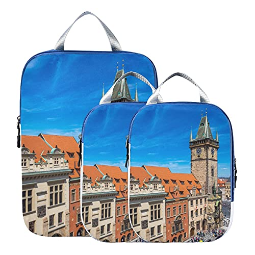 Borse da viaggio Organizer per bagagli Torre dell'orologio nella città vecchia Set di borse organizer per valigie espandibili Borse organizer da viaggio per bagaglio a mano, viaggio (set di 3)