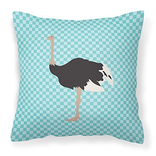 Caroline tesoros del bb8098pw1818común avestruz azul comprobar al aire libre lienzo Tejido decorativo almohada, multicolor