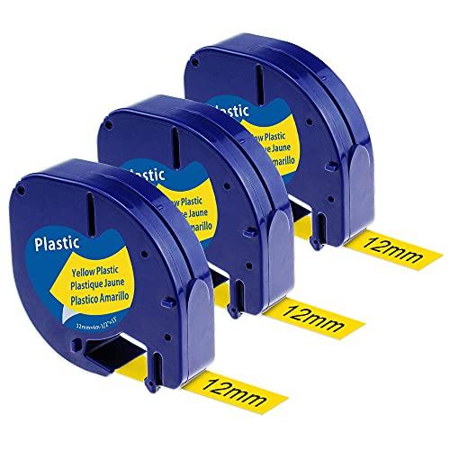 Anycolor Compatible Cinta de Etiquetas para Dymo LetraTag plástico 91202 S0721620 12mm x 4m Negro sobre Amarillo, para DYMO LetraTag LT110T LT100H LT100T QX50 XR