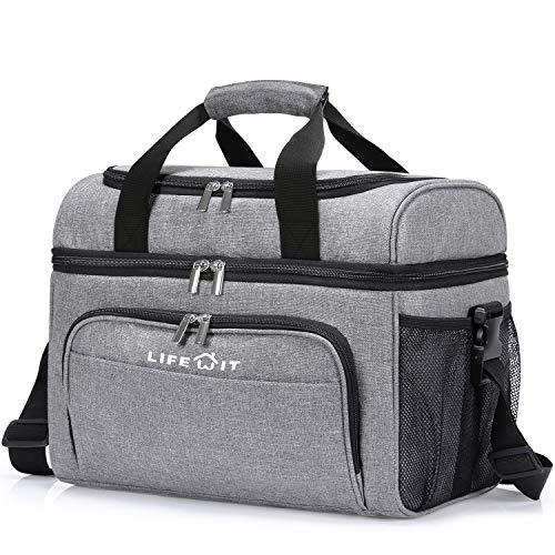 Lifewit Kühltasche Groß Einkaufstasche Faltbar Cooler Bag Sportliche Kühlbox Isoliertasche Double Decker für Sport/Picknick/Fitness/, 23L (grau)