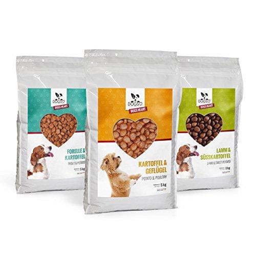 DOGS-HEART Forelle│Geflügel│Lamm 3er Spar-Set in verschiedenen Variationen, Hundefutter mit viel Fleisch. Getreidefreies Trockenfutter - ohne Zusatz von Zucker, Mais oder Weizen