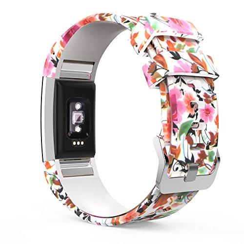 MoKo Armband für Fitbit Charge 2, [Muster Serie] Silikon Sportarmband Uhrenarmband Uhr Erstatzband Zur Herzfrequenz und Fitnessaufzeichnung, Frühlingsblüten