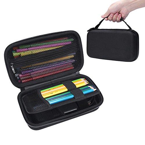 LICHIFIT Grande trousse semi-rigide en EVA pour crayons de couleur, marqueurs, disque dur WD TI et calculatrice graphique
