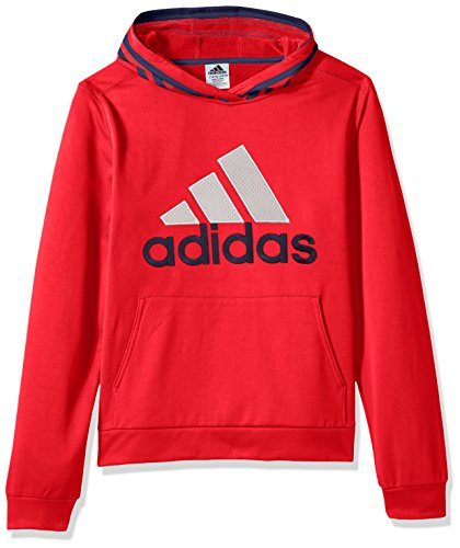 adidas Boys' L Active Sport Athletic Pullover Hooded Sweatshirt, Scarlet Block