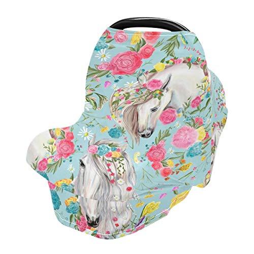 Funda de enfermería para lactancia materna, fundas de asiento de coche de caballo y flores para bebés bebés, funda para cochecito, toldo para asiento de coche para niños y niñas
