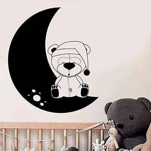 Luna etiqueta de la pared vivero oso de peluche juguete niños dormitorio de los niños habitación del bebé decoración del hogar vinilo etiqueta de la ventana dormir arte mural