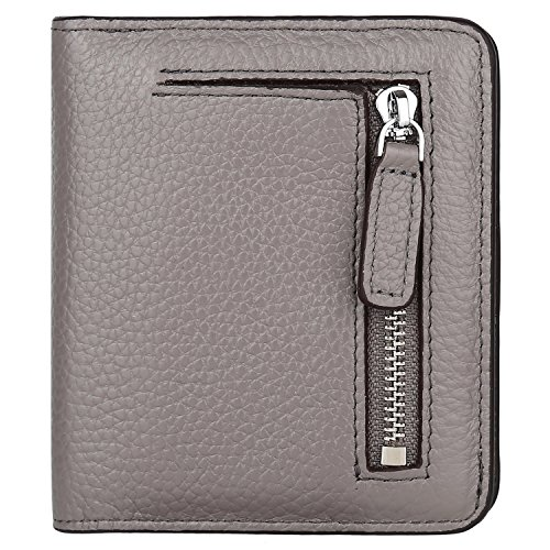 GDTK RFID Blocking Wallet Women's Small Compact Bi-fold Leather Purse Pocket Wallet (Gray)