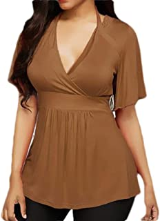 Suncolor8 Womens V-Neck Short Sleeve Pure Color Halter Pleated Top T-Shirt Blouse