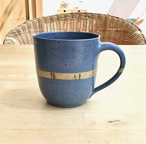 Kaffeebecher, Tasse, ca. 250ml, Keramik,mittelblau, getöpfert