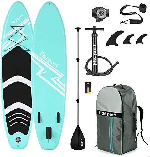 FBSPORT Sup Hinchable, 15 cm de Espesor Tabla de Surf Sup Paddleboard, Tabla Inflable de Paddle Surf, Set de Sup con Tabla y Accesorios (Green)