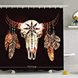 Conjunto de Cortina de Ducha con Ganchos 120X180Cm Adorno de búfalo Plumas de Calavera de Moda Historia Signos de la Naturaleza Azteca Símbolos de Color Animal Cherokee