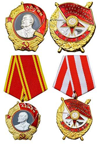 JXS Insignia Militar del ejército Ruso soviético de la URSS, Pedido por la Medalla WW2, Unión Soviética Lenin Red Bander Medal, 4pcs