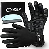 ColorX Pet Grooming Glove & Brush Set - Pet Hair Remover for Cat and Dog - Premium Pet Gloves for Hair Removal,Brush for Shedding, Dogs,Cats Horses