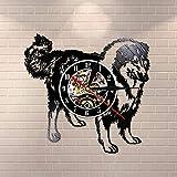UIOLK Schnauzer Perro Raza Pared Rough Collie Club Disco de Vinilo Reloj de Pared Cachorro Animal...
