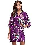 Aibrou Kimono Mujer Novia Bata Corto Sexy y Elegante con Pavo & Flores Pijamas Albornozes Camison Mujer Suave,Cómodo,Sedoso y Agradable