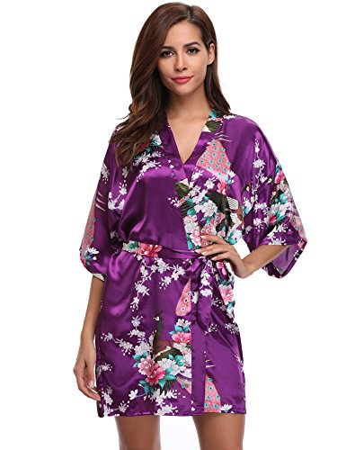 Aibrou Kimono Mujer Novia Bata Corto Sexy y Elegante con Pav