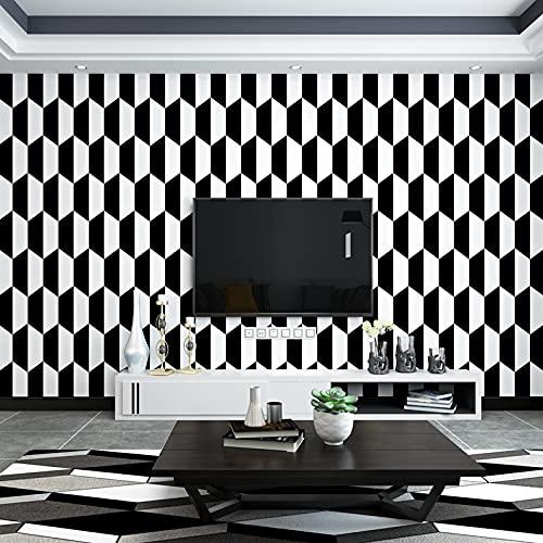 QWESD Papel Tapiz de Fondo a Cuadros en Blanco y Negro, Dormitorio, Sala de Estar, gráficos geométricos nórdicos, luz Americana, Papel Tapiz de Lujo con Pata de Gallo para familias