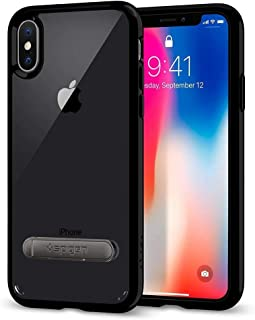 Spigen Ultra Hybrid S iPhone X Case with Air Cushion Technology and Magnetic Metal Kickstand - Jet Black