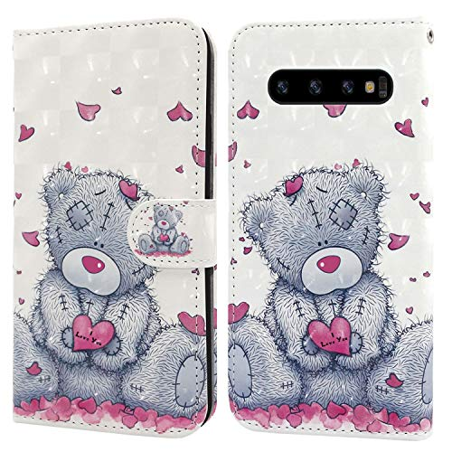Ailisi Samsung Galaxy S10 Plus/S10+ Hülle Teddy Bear 3D Muster Handyhülle Schutzhülle PU Leder Wallet Case Flip Case Klapphüllen Brieftasche Ledertasche Tasche Etui im Bookstyle