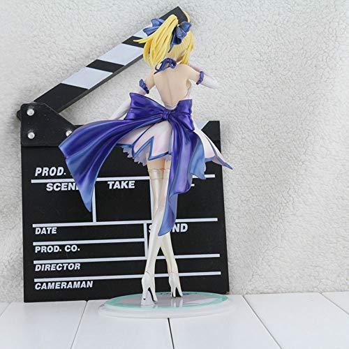 WISHVYQ Fate/Stay Night Anime Modelo Saber Saiba Vestido Blanco Hermosa Chica Muñeca en Caja Versión Escultura Decoración Estatua Muñeca Modelo Juguete Altura 27cm