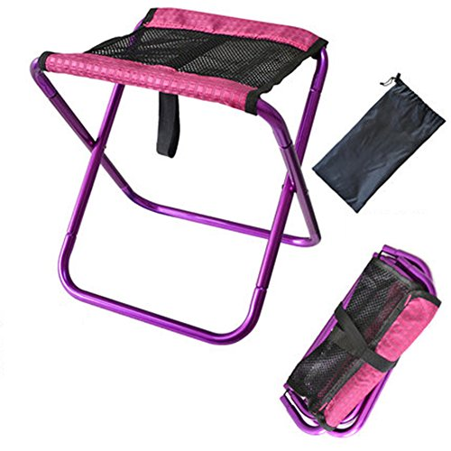 Chaise Pliante Plein Air - Espace Aluminium Camping Chaise Pêche Portable Train Camping Mazar Barbecue Pliant Tabouret,Purple