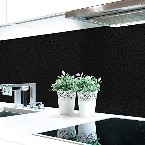Keuken achterwand leer zwart premium hard PVC 0,4 mm zelfklevend - direct op de tegels Materialprobe A4