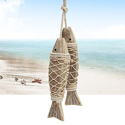 KING DO WAY 2pcs Handmade Fische hängende Dekoration Mediterraner Stil Maritime Retro Holz Skulptur dekor,20x5x2.7cm