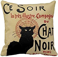 "Le Chat Noir Print Custom Zippered Pillow Cushion Case Throw Pillow Covers 18""x18"" Twin Sides"