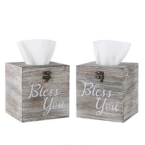 Jorikchuo Bless You Tissue Box Cover, Set of 2 Wood Tissue Box Cover Square, Farmhouse Toilet Paper Holder, or Napkin Dispenser (Classic White)