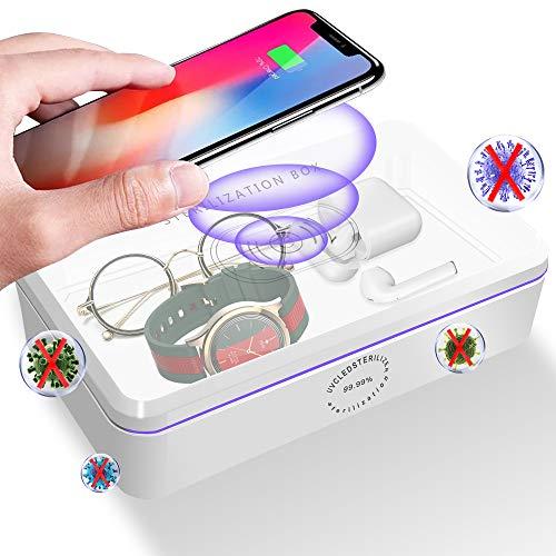 UV Sterilisator, UV-C Desinfektionsbox mit 10W Wireless Charger, Tragbar Sterilisationsbox UV Licht, UV Reinigungsbox, Schnelle Sterilisation 99,99% für Handy/Zahnbürste/Maske/Schnuller/Schmuck/Socke