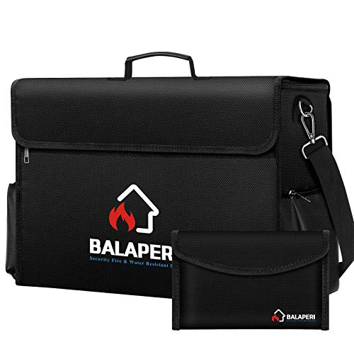 BALAPERI Large Fireproof Bag (17 x 12 x 5.8 inches),XL Fireproof Document & Money Bags with Zipper,Non-Itchy Fireproof Container Bag,Waterproof Storage Safety for Cash,Money, Files, Valuables,Jewelry