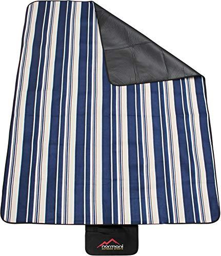 normani Outdoor Campingdecke Fleece mit Tragegriff wasserdicht isoliert Farbe Blau gestreift