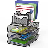 SimpleHouseware 3-Pack Stackable Desk File Document Letter Tray w/ 5 Compartments Step File Organizer, Black