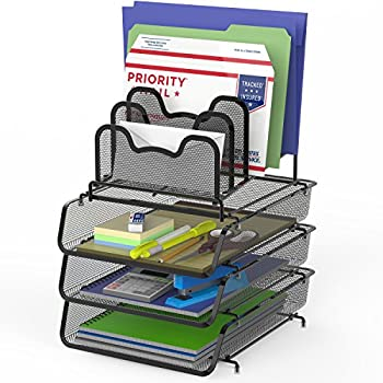 SimpleHouseware 3-Pack Stackable Desk File Document Letter Tray w/ 5 Compartments Step File Organizer Black