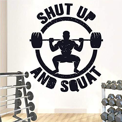 Cállate y ponte en cuclillas Fitness Wall Decal Gym Workout Bodybuilding Vinilo Adhesivo de pared