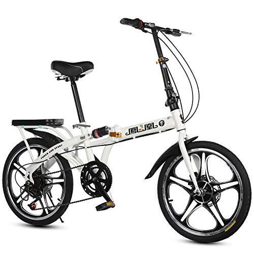 Unisex Sospensione Bici Pieghevole 20 Pollici Acciaio al Carbonio 7 velocità Freno a Doppio Disco Lega di Alluminio Ruota Integrale Alunno Bambino Commuter City Bicicletta,White