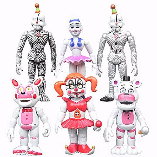 6 Piezas FNAF Five Nights At Freddy'S Actioon Figuras Funtime Circus Baby Ballora Foxy Freddy Ennard Modelo Muñeca Coleccionable Juguetes para Niños En Bolsas, 4 Pulgadas