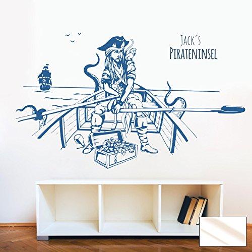Graz design sticker mural motif bateau de pirate hobbyFun bateau à rame de petits chevaux île des pirates mer trésor pirate m1644 mer nom et prénom, Milchglas, XXL - 165cm breit x 100cm hoch
