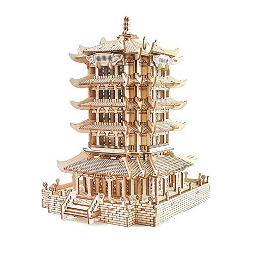 Taoke 3D Puzzle DIY Desktop-Holz Klassische Antike Gebäude Puzzle Modell 3D Puzzle Gebäudemodell Bastelset (Farbe: Bild Farbe, Größe: 25.3x25.3x21.5cm) 8bayfa
