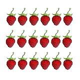 EXCEART 50 Unids Conjunto de Fresa Artificial Aleación Colgante de Fruta Falsa Simulación Pequeño Modelo de Fresa Roja Tocado Accesorio Foto Prop para El Hogar Cocina Tienda Decoración
