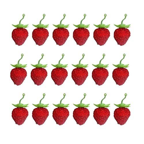 EXCEART 50 Unids Conjunto de Fresa Artificial Aleación Colgante de Fruta Falsa...