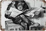 Tamaño: 11.8 'x7.9' (30x20cm), Chimpancé Leyendo Periódico Pintura Vintage Cartel de chapa para Calle Garaje Hogar Café Bar Hombre Cueva Granja Decoración de pared