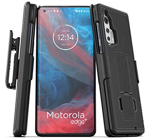 Encased Motorola Edge Plus Belt Clip Case (2020 DuraClip) Ultra Slim Cover with Holster for Moto Edge+ (Black)