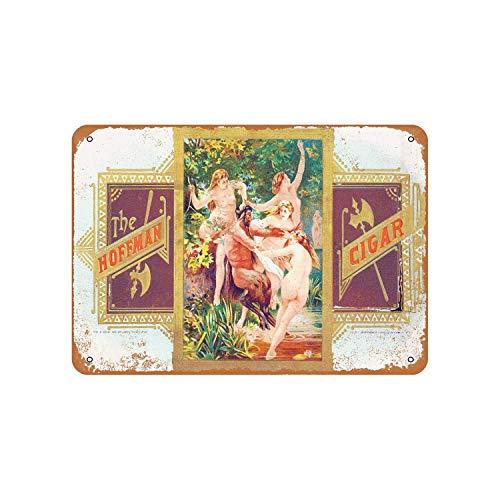 43LenaJon Cartel de metal rústico de The Hoffman Cigars con aspecto vintage, para decoración de casa de granja, regalo de inauguración de la casa de Mancave, 20 x 30 cm