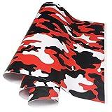 LKXHarleya Red Camo Car Vinyl Wrap, Air Bubble Free Car Camouflage Vinyl Film Matte Vinyl Wrapping For Car Bike Laptop Boat Moto, 30x150cm